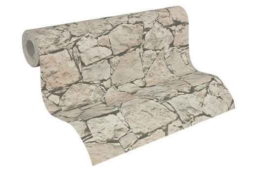 Vliestapete in steinopktik 10,05 m - Hellbraun/Hellgrau, LIFESTYLE, Textil (53/1005cm)