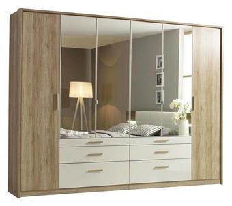 DREHTÜRENSCHRANK 271/210/62 cm - Eichefarben/Weiß, Design, Glas/Holzwerkstoff (271/210/62cm) - Carryhome
