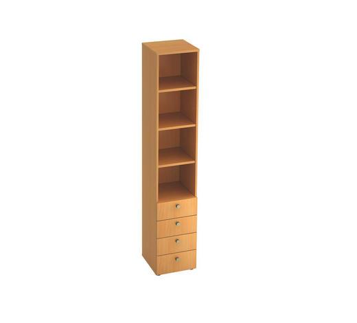 REGAL in Buchefarben - Buchefarben/Alufarben, KONVENTIONELL, Holzwerkstoff/Metall (40/215,6/42cm)