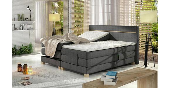 BOXSPRINGBETT 160 cm   x 200 cm   in Holz, Textil Dunkelgrau, Eichefarben - Eichefarben/Dunkelgrau, Design, Holz/Textil (160/200cm) - Linea Natura