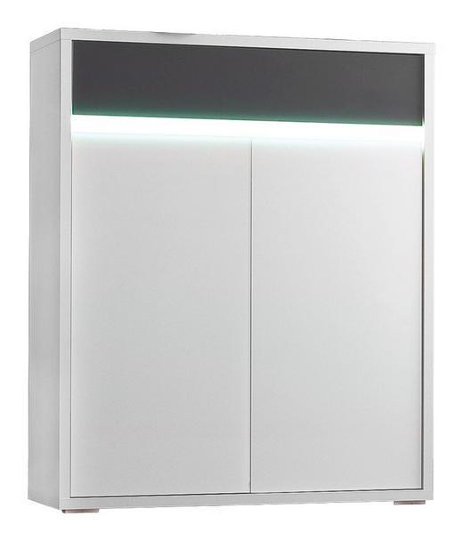 KOMMODE Anthrazit, Weiß - Anthrazit/Silberfarben, Design, Glas/Holzwerkstoff (91/112/35cm) - Cassando