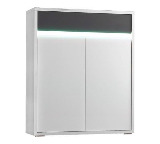 KOMMODE lackiert Anthrazit, Weiß  - Anthrazit/Silberfarben, Design, Glas/Holzwerkstoff (91/112/35cm) - Cassando