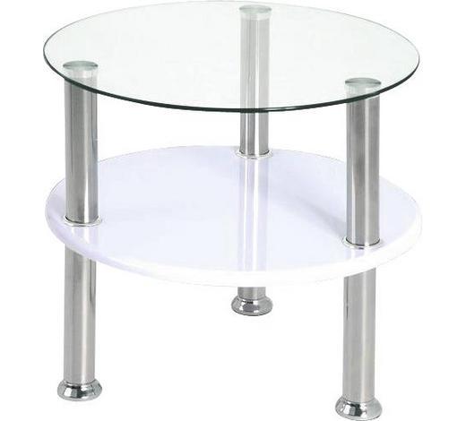 BEISTELLTISCH rund Weiß, Edelstahlfarben  - Edelstahlfarben/Weiß, Design, Glas/Metall (45/42cm) - Carryhome