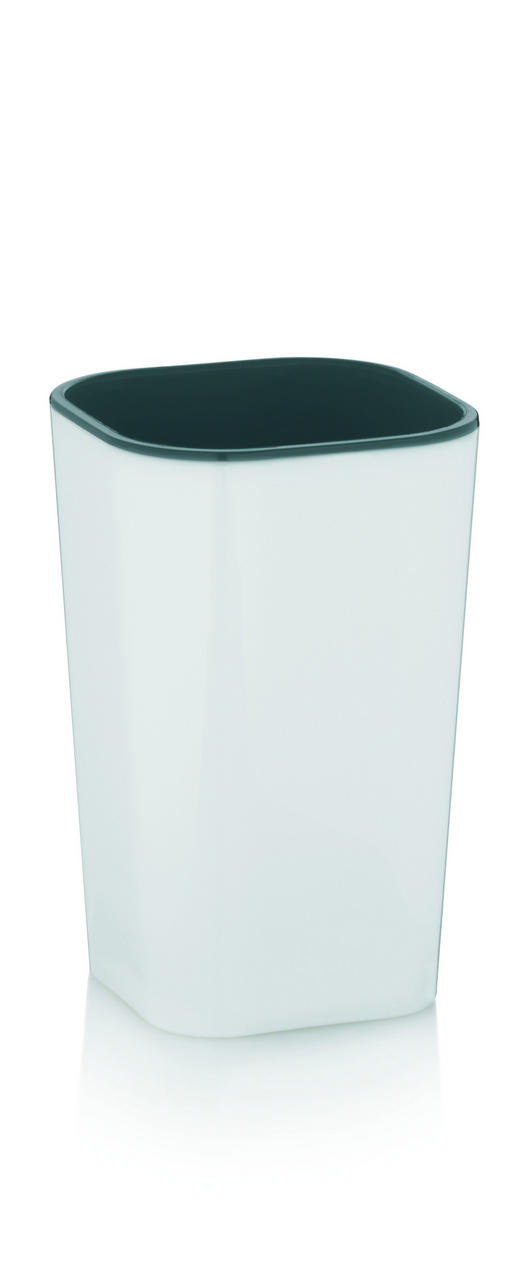 ZAHNPUTZBECHER - Weiß/Grau, Basics, Kunststoff (7,5/7,5/12cm)