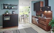 KOTNA KUHINJA sistem za mehko in tiho zapiranje   - oreh/črna, Design, leseni material (120+210cm) - Welnova