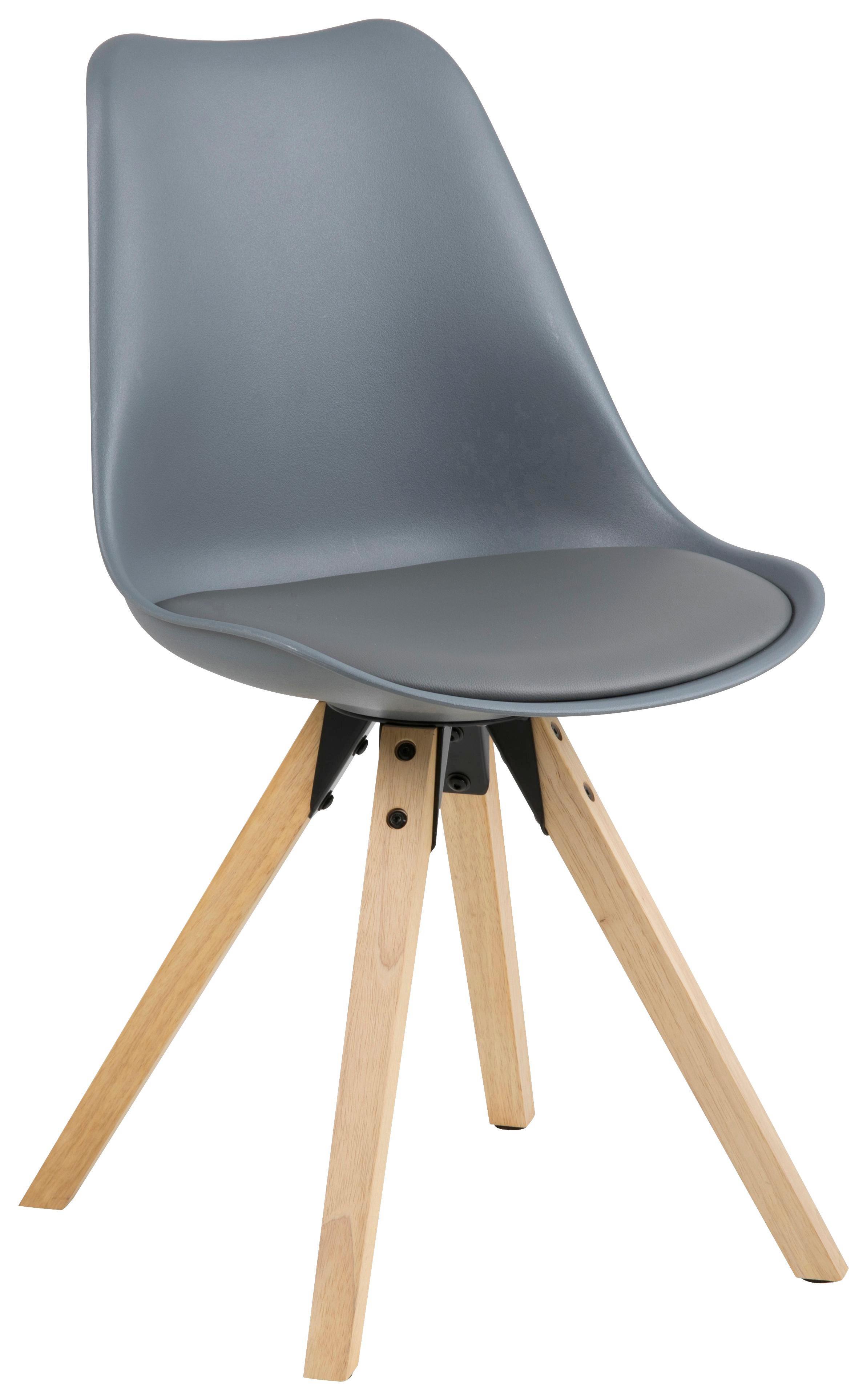 STUHL Lederlook Grau   Eichefarben/Grau, Design, Holz/Kunststoff (48/