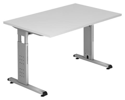 SCHREIBTISCH Weiß - Silberfarben/Weiß, KONVENTIONELL, Metall (120/65-85/80cm)