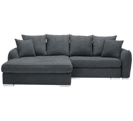 WOHNLANDSCHAFT in Textil Dunkelgrau - Chromfarben/Dunkelgrau, Design, Kunststoff/Textil (195/275cm) - Carryhome