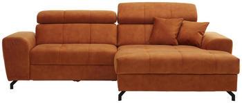 WOHNLANDSCHAFT in Textil Orange  - Rostfarben/Schwarz, MODERN, Textil/Metall (267/181cm) - Carryhome