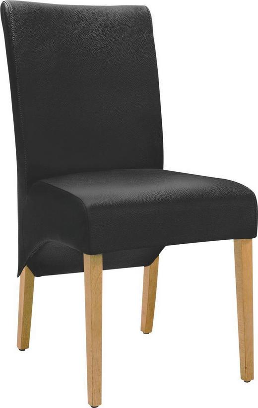 STUHL Echtleder Eiche massiv Schwarz, Eichefarben - Eichefarben/Schwarz, Design, Leder/Holz (46/96/63cm) - Musterring