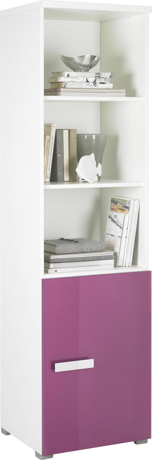 REGAL Lila, Weiß - Lila/Alufarben, Design, Glas/Holzwerkstoff (50/181,2/44,3cm) - Xora