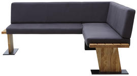 ECKBANK Eiche massiv Anthrazit, Eichefarben - Eichefarben/Anthrazit, KONVENTIONELL, Holz/Textil (200/175cm) - Voleo