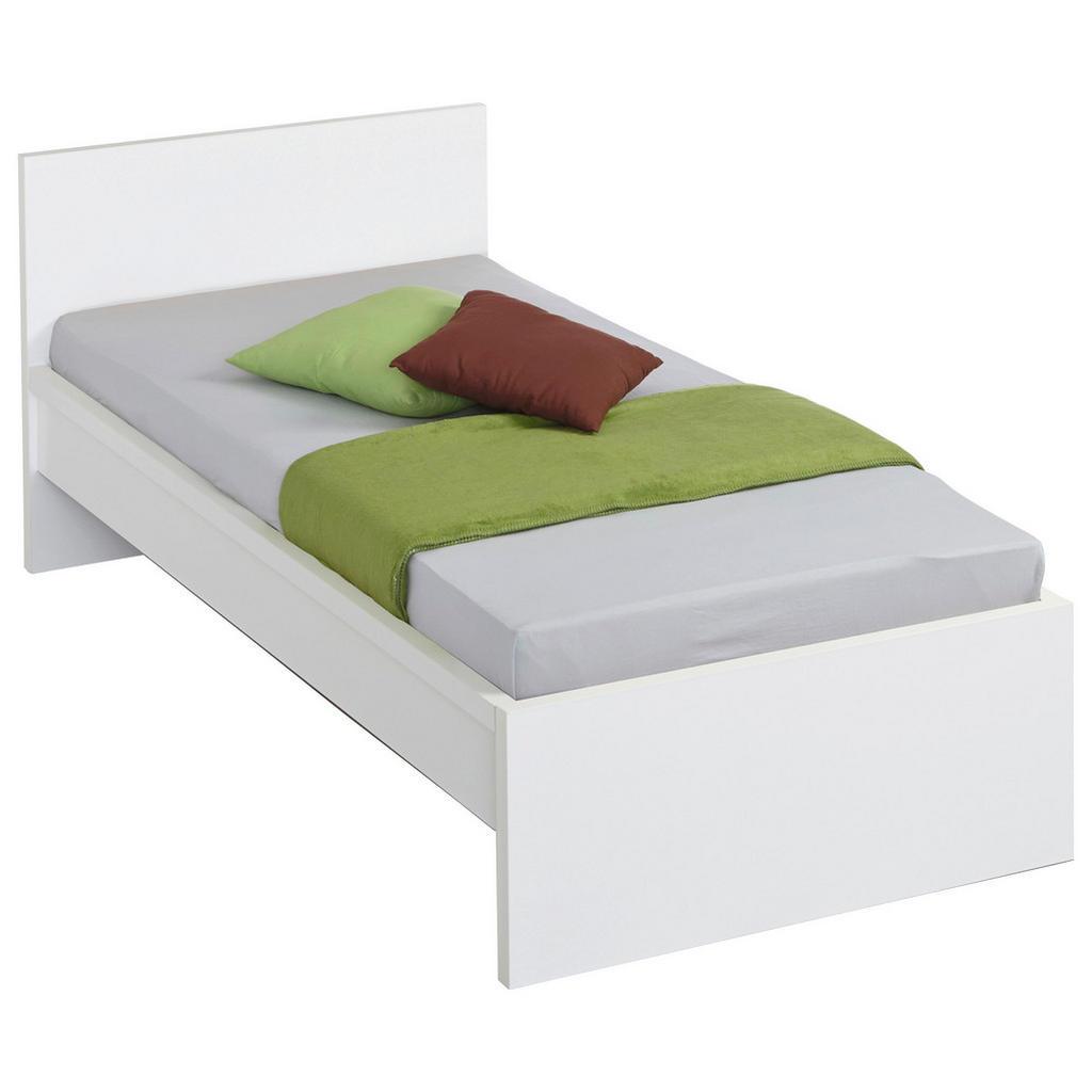 Image of Carryhome Bett 90/200 cm in weiss , Malmö , Holzwerkstoff , 90 cm , Glanz, Dekorfolie,Nachbildung , 002522009102