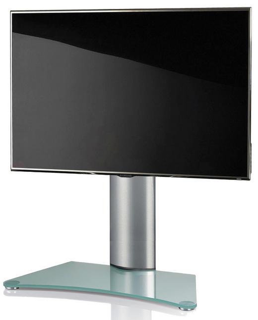 TV-RACK Klar, Silberfarben - Klar/Silberfarben, KONVENTIONELL, Glas/Metall (80/74/40cm)