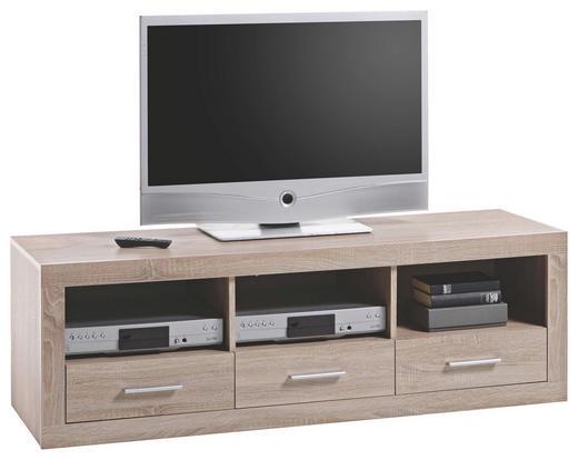 LOWBOARD Sonoma Eiche - Eichefarben/Silberfarben, Design, Holzwerkstoff/Kunststoff (147/49/45cm) - BOXXX