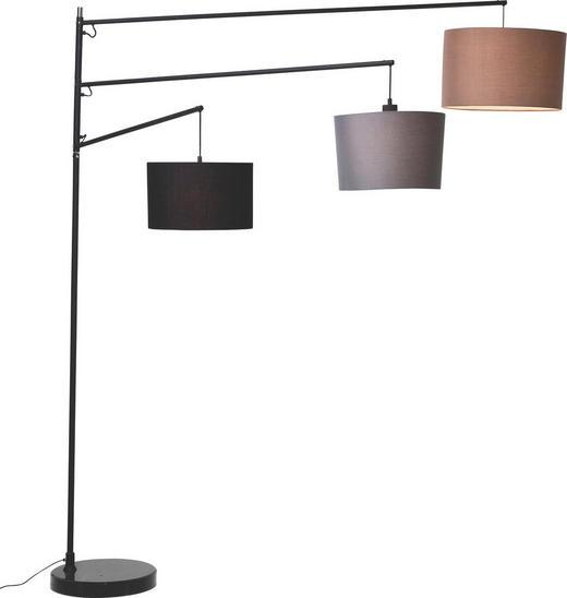 BOGENLEUCHTE - Schwarz/Braun, Design, Stein/Textil (162/199/40cm) - Kare-Design