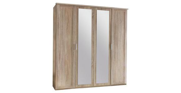 DREHTÜRENSCHRANK in Eichefarben  - Eichefarben/Silberfarben, KONVENTIONELL, Glas/Holzwerkstoff (180/210/58cm) - Cantus