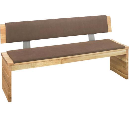 Sitzbank In Holz Textil Braun Eichefarben Natur