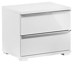 SÄNGBORD - vit/kromfärg, Design, glas/träbaserade material (51/44/40cm) - Cantus