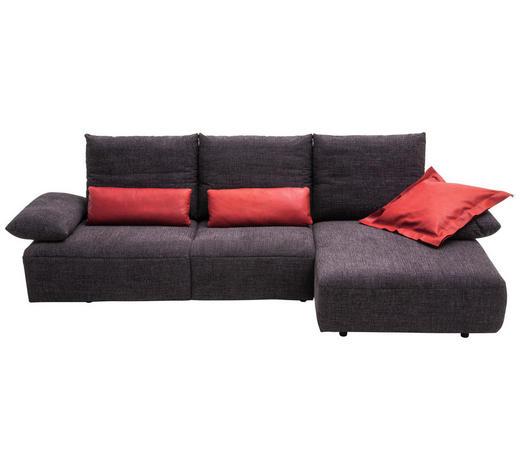 WOHNLANDSCHAFT in Textil Anthrazit - Anthrazit/Schwarz, Design, Kunststoff/Textil (305/155cm) - Dieter Knoll