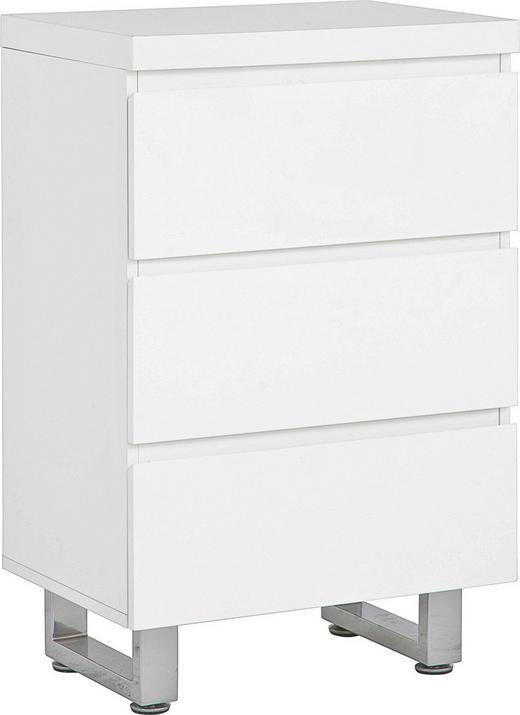 BYRÅ - vit/kromfärg, Design, metall/träbaserade material (53/82/38cm) - CARRYHOME