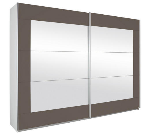 SCHWEBETÜRENSCHRANK in Braun, Grau, Weiß - Alufarben/Braun, KONVENTIONELL, Glas/Holzwerkstoff (271/210/62cm) - Xora