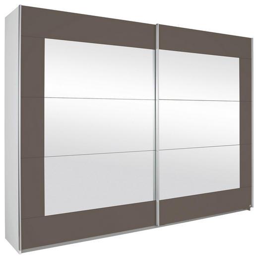 SCHWEBETÜRENSCHRANK 2-türig Grau, Weiß - Alufarben/Weiß, Design, Glas/Holzwerkstoff (226/210/62cm) - Xora