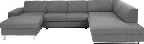 WOHNLANDSCHAFT Hellgrau Webstoff  - Chromfarben/Hellgrau, Design, Textil/Metall (157/350/198cm) - Venda