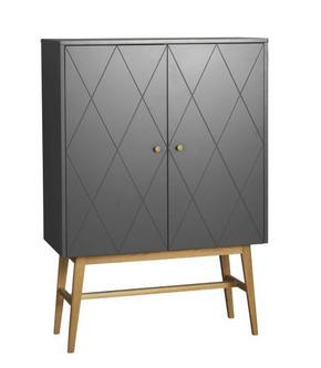 HIGHBOARD - vit/mässingfärg, Modern, metall/trä (94/135/42cm) - Rowico