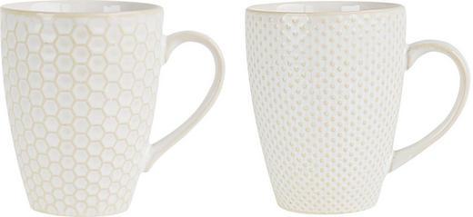 TASSENSET 2-teilig Keramik Steinzeug Goldfarben, Weiß - Goldfarben/Weiß, LIFESTYLE, Keramik (8/10,5cm) - ASA
