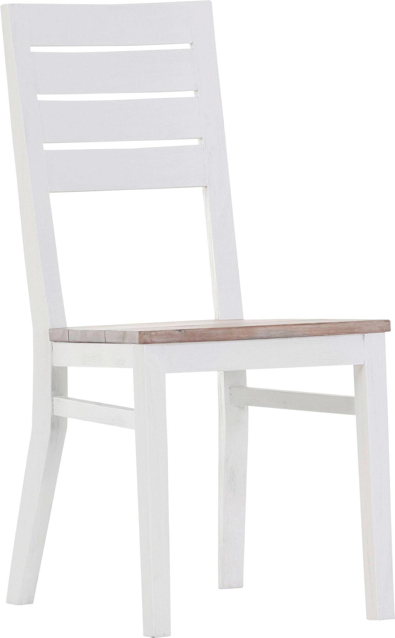 STUHL Akazie teilmassiv Akaziefarben, Weiß - Weiß/Akaziefarben, Basics, Holz (54/97/47cm) - CARRYHOME