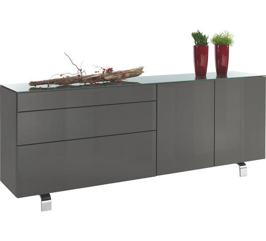 SIDEBOARD 211,2/70,4/45 cm  - Schwarz/Grau, Design, Holzwerkstoff/Kunststoff (211,2/70,4/45cm) - Hülsta