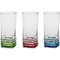 LONGDRINKGLAS 335 ml - Klar/Rot, KONVENTIONELL, Glas (6,8/14cm) - Homeware