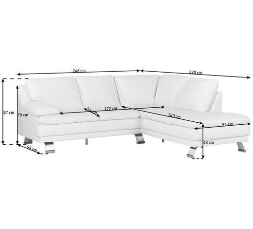 ECKSOFA Weiß Echtleder - Alufarben/Weiß, KONVENTIONELL, Leder/Metall (246/220cm) - Celina Home
