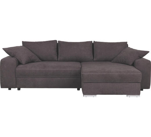 Ecksofa Dunkelbraun Mikrofaser  - Chromfarben/Dunkelbraun, Design, Textil/Metall (283/179cm) - Carryhome