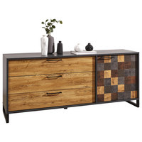 KOMODA - černá/barvy dubu, Lifestyle, kov/kompozitní dřevo (177/74/45cm) - Landscape