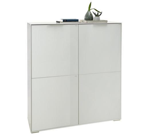 HIGHBOARD Hochglanz, lackiert Weiß  - Alufarben/Weiß, Design, Glas/Holzwerkstoff (123/135/40cm)