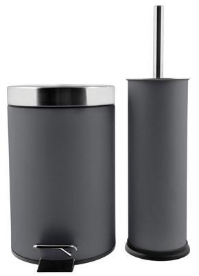 TOALETTBORSTSET - grå, Klassisk, metall/plast - Low Price