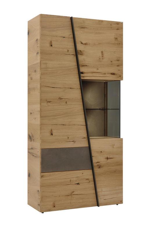 VITRINE Wildeiche furniert Eichefarben, Grau - Eichefarben/Grau, Design, Glas/Holz (96/202/42,3cm) - Voglauer