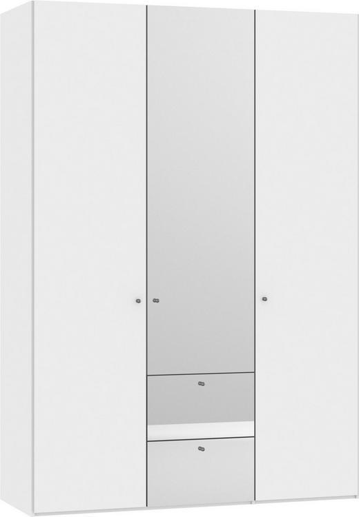 KLEIDERSCHRANK 3-türig Weiß - Silberfarben/Weiß, Design, Glas/Holzwerkstoff (152,2/220/58,5cm) - Jutzler