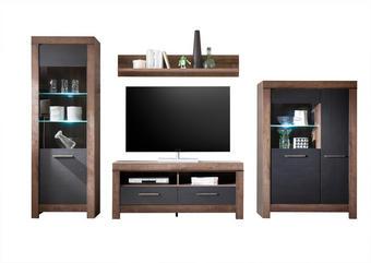 OBÝVACÍ STĚNA, barvy dubu, černá - barvy dubu/černá, Design, dřevěný materiál/umělá hmota (325/197/45cm) - Carryhome
