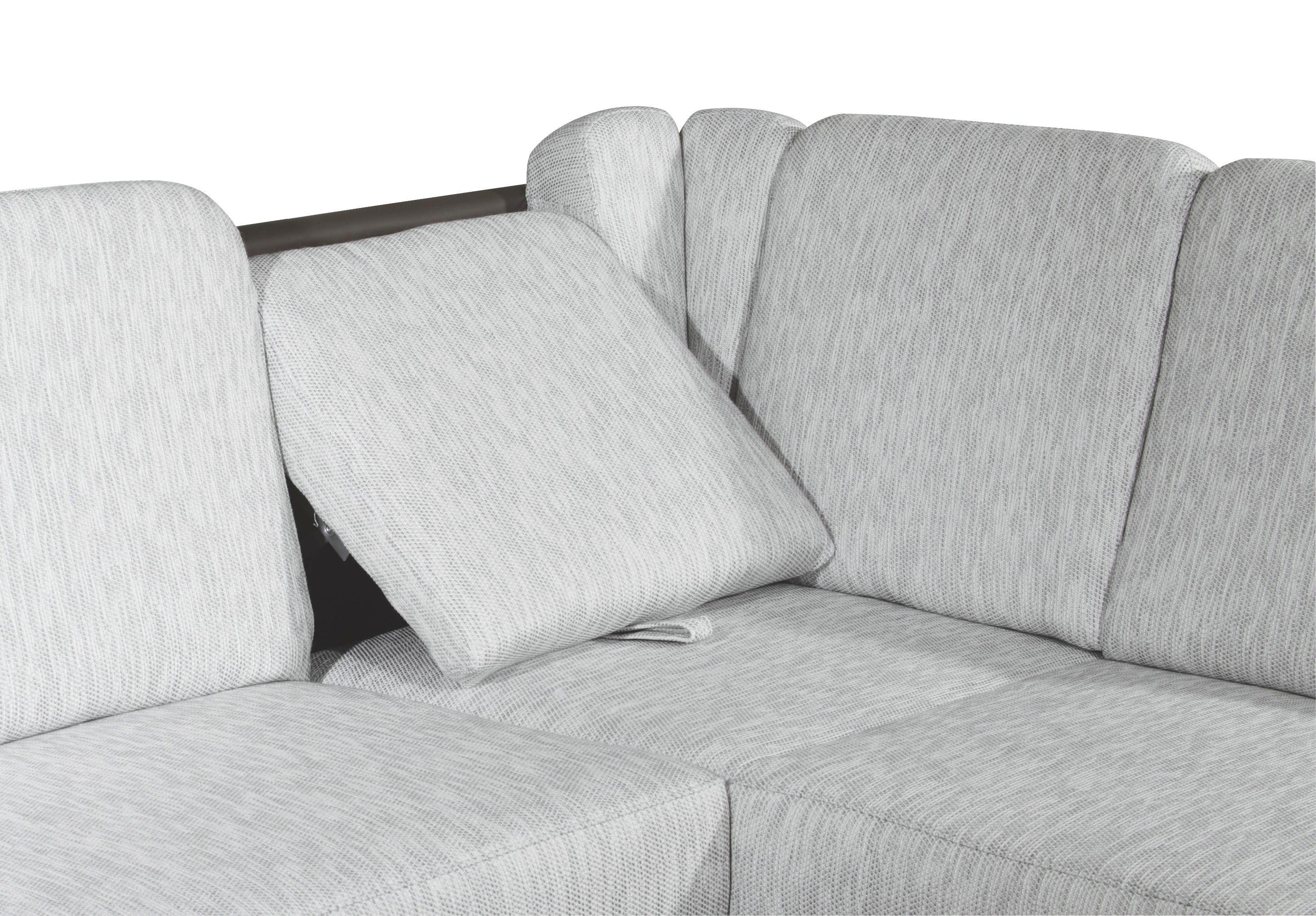 WOHNLANDSCHAFT in Dunkelbraun, Hellgrau Textil - Dunkelbraun/Hellgrau, KONVENTIONELL, Textil/Metall (245/200cm) - XORA