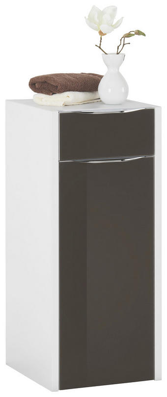 SPODNÍ SKŘÍŇKA - bílá/barvy chromu, Design, kov/dřevěný materiál (34,4/82/35,5cm) - XORA