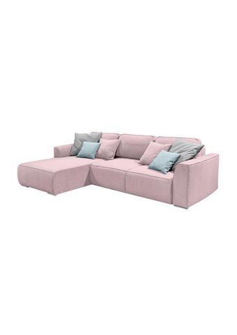 SEDEŽNA GARNITURA,  pastelno roza tekstil, leseni material  - turkizna/siva, Design, umetna masa/tekstil (294/90/206cm) - Ti`me