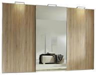 SCHWEBETÜRENSCHRANK 3-türig Sonoma Eiche  - Alufarben/Sonoma Eiche, Design, Glas/Holzwerkstoff (249/222/68cm) - Moderano