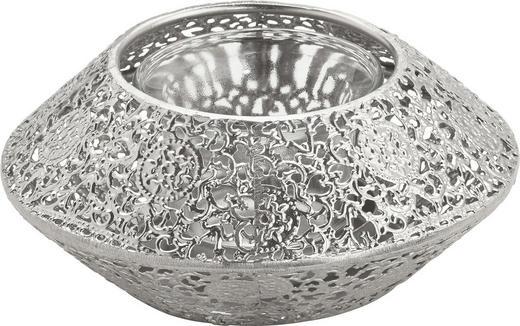 WINDLICHT - Silberfarben, Basics, Glas/Metall (13/13/5cm) - Ambia Home