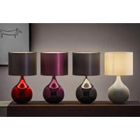 LAMPA STOLNÍ - černá/červená, Design, kov/textil (25/45cm) - Novel