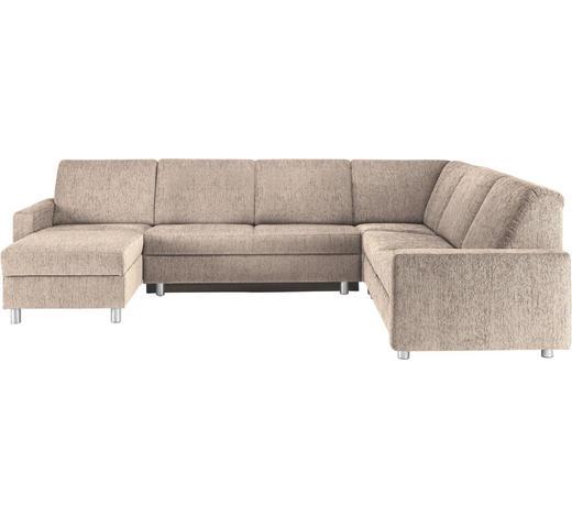 WOHNLANDSCHAFT in Textil Beige - Beige/Alufarben, KONVENTIONELL, Kunststoff/Textil (158/323/252cm) - Sedda
