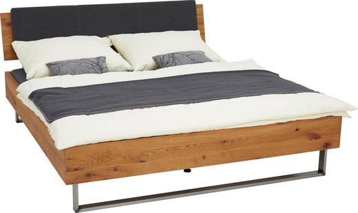 BETT Wildeiche massiv 180/200 cm - Eichefarben/Dunkelgrau, Design, Holz/Metall (180/200cm) - Hasena