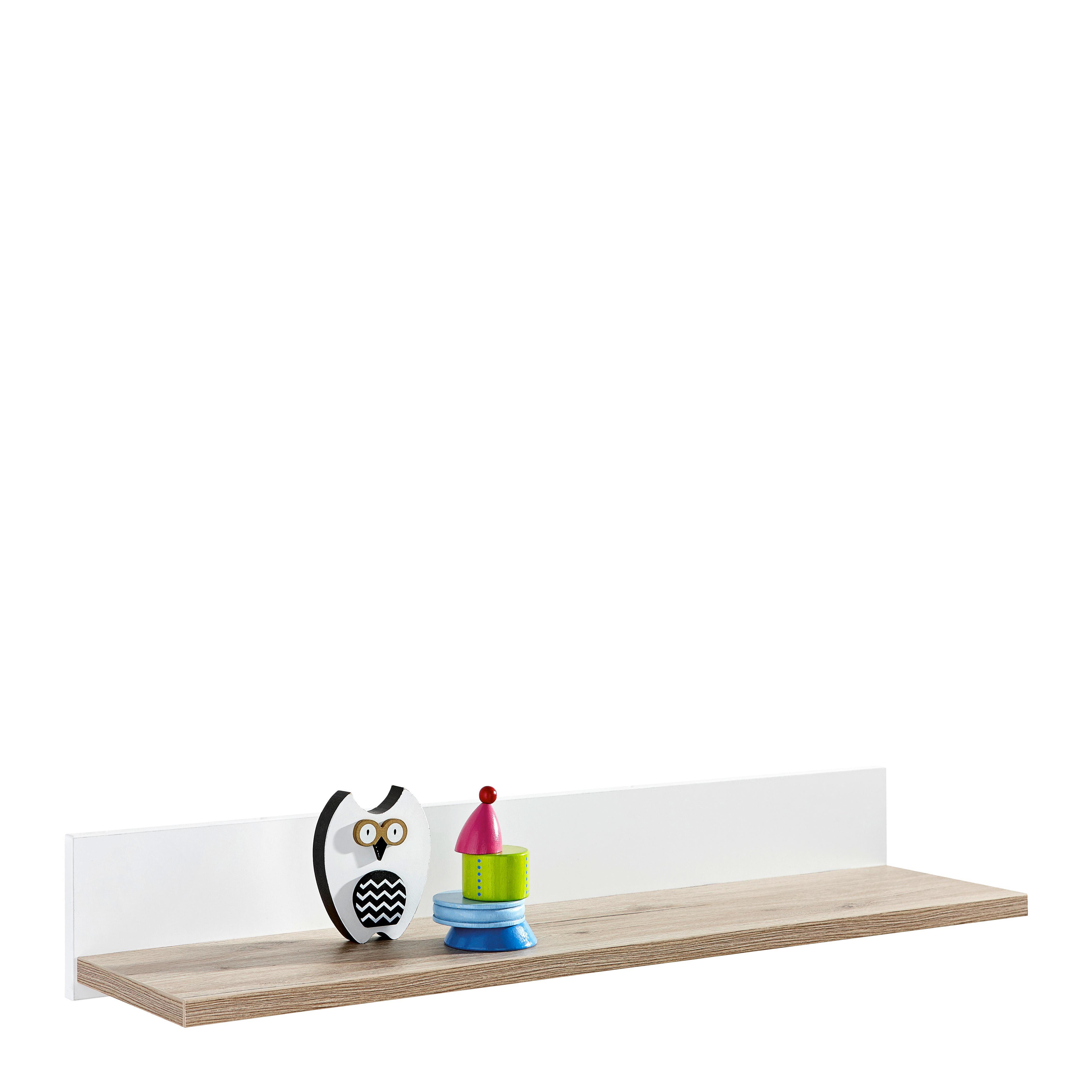 WANDREGAL Eichefarben, Weiß - Eichefarben/Weiß, Basics, Holzwerkstoff (90/13,9/21,6cm) - PAIDI